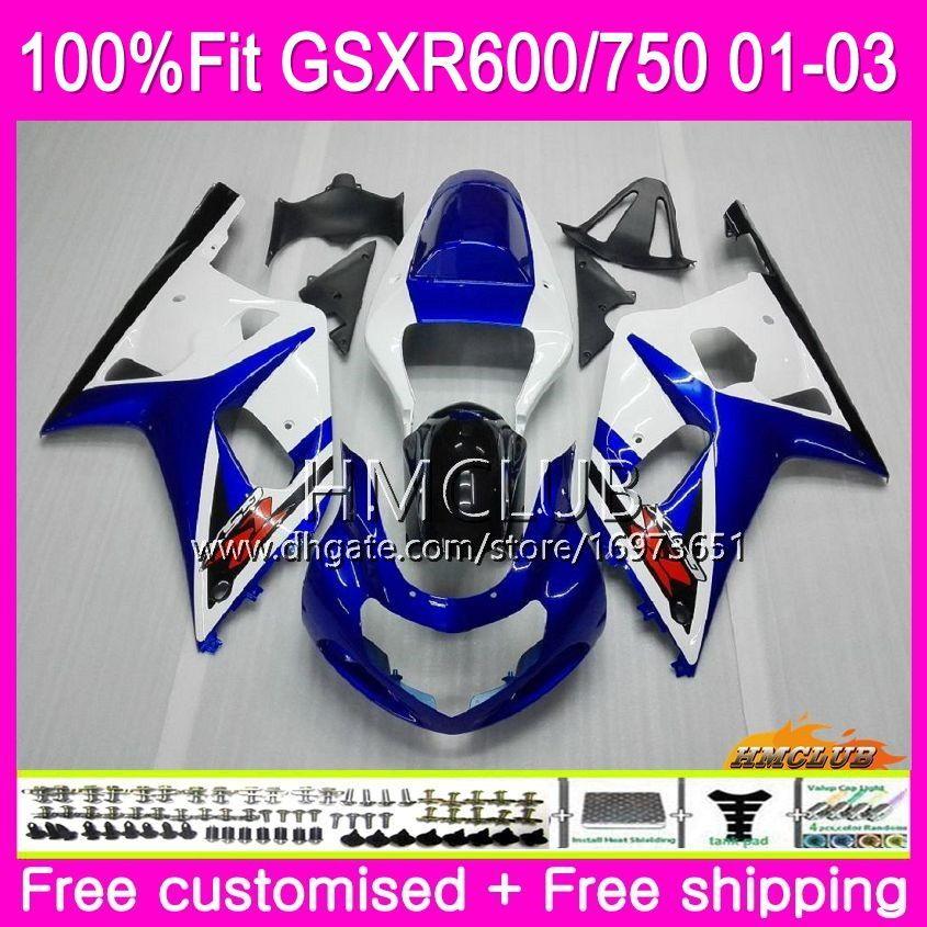 Injeção Para SUZUKI GSXR 600 750 GSX-R750 GSXR600 01 02 03 4HM.6 GSX R600 GSX R750 K1 GSXR-600 GSXR750 2001 2002 2003 Azul Branco Carenagem