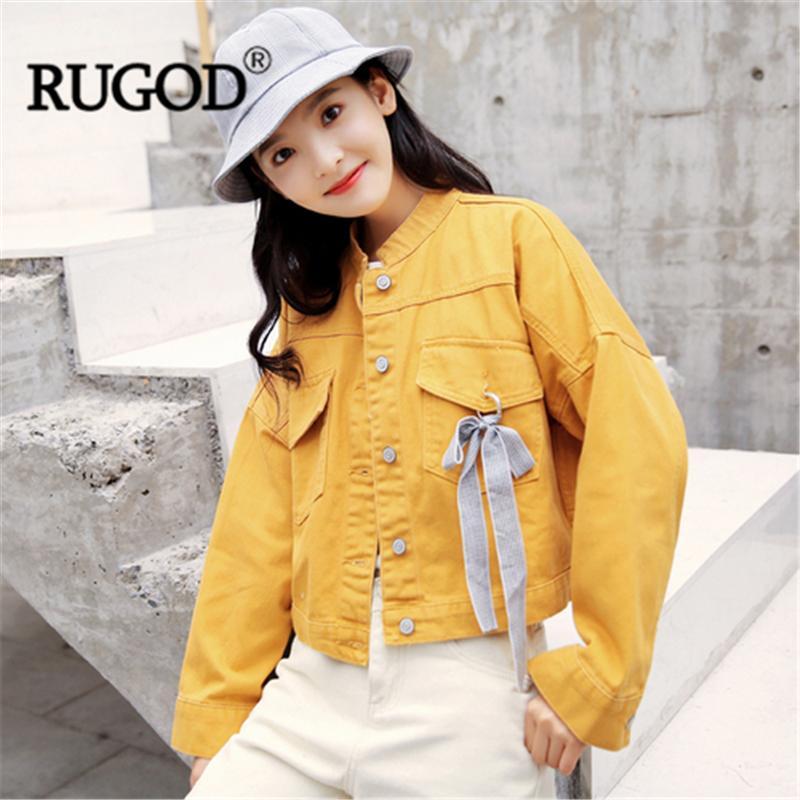 Rugod Kadınlar Katı Denim Ceket Mandarin Yaka Yay Yüksek Bel Kot Ceket 2019 Yeni Moda Kadın Rahat Ince Modu Kore Ceket
