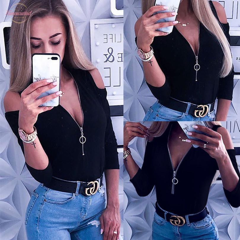 Las nuevas mujeres hombro abierto de la cremallera superior T camisas de las señoras Escote profundo tapas de las señoras Daily atractivo camisetas de manga corta
