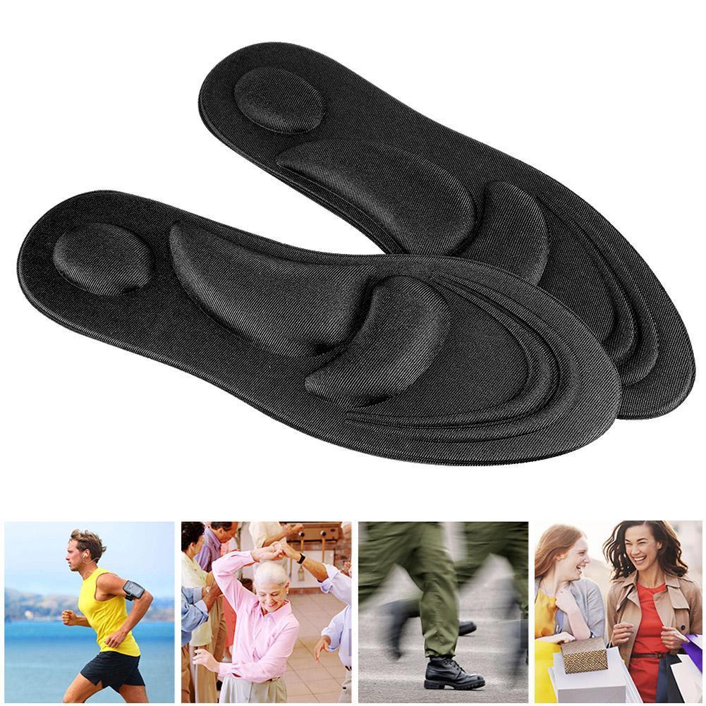 남성을위한 정형용 안창 플랫 발 아치 지원 메모리 폼 깔창 신발 패드 컴포트 블랙