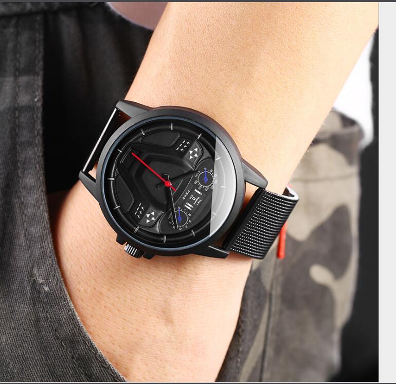 Новое прибытие Кварцевые часы стальной сетки пояса мужские часы моды спорта тенденция часы оптовой