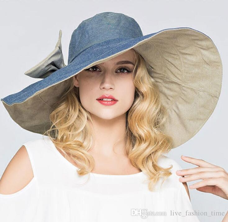 161841a8 ... New 2019 Summer Fashion Floppy Hats Casual Vacation Travel Wide Brimmed Sun  Hats Big Heads Foldable ...