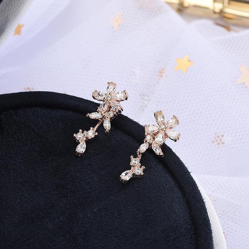 S925 Boucles d'oreilles en argent sterling art version coréenne petite incrusté frais avec boucles d'oreilles diamant doux et polyvalent accessoires substitut cheveux