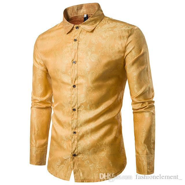 Karakteristik Nakış Desen Erkekler Casual Uzun Kollu Yaka Gömlek Moda Bluz Koyu Mavi Sarı Bordo Koyu Mor Gömlek