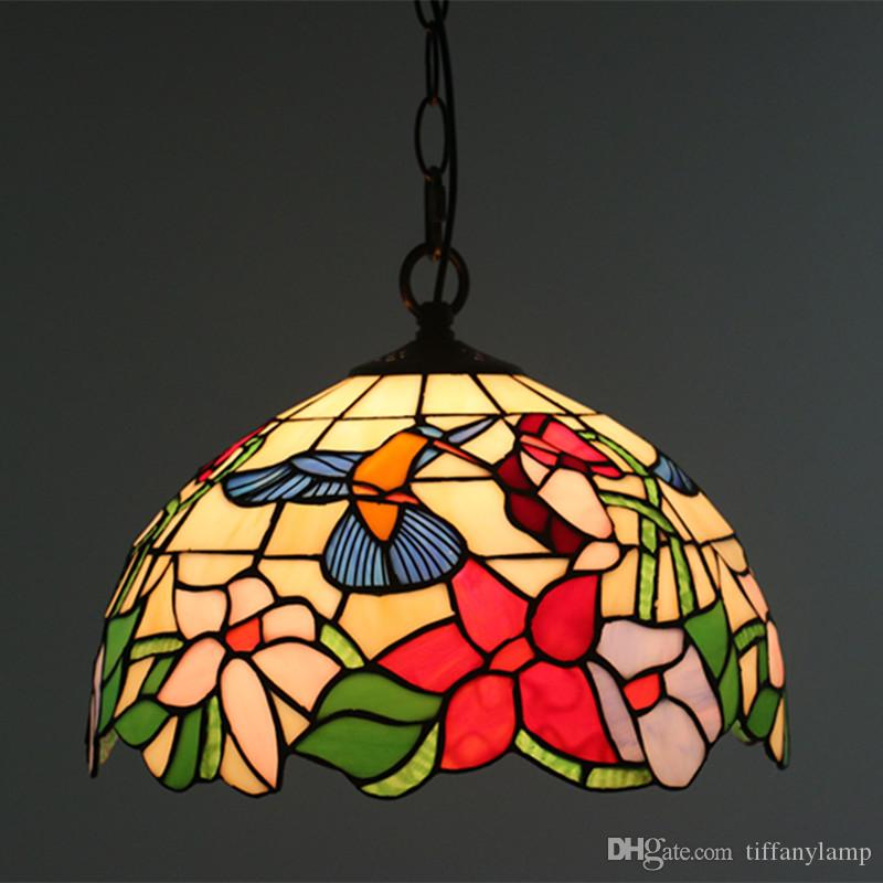 12 Inch Stained Glass Bird Flowers Hanging Lamp Vintage Bedroom Dinning Room Lights Farmhouse Kitchen Lamp Exterior Pendant Light Lamp Pendant From