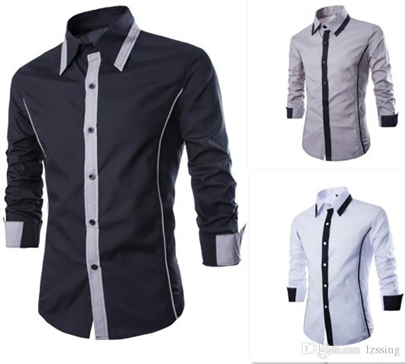 Fashion Contrast Color Design Black Mens Dress Shirts Long sleeve Slim Fit Office Business Shirt Casual Social 3 Colors S to XXL 1413-CS13