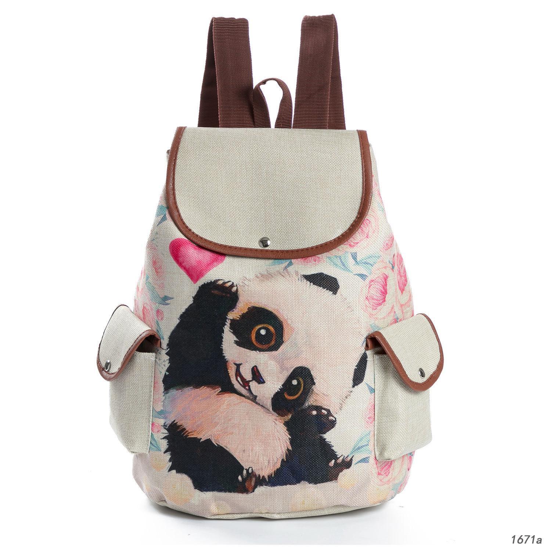Cartoon Panda Cat Printing Dog Print Burlap Student backpack Travel Simple Backpack School Bag
