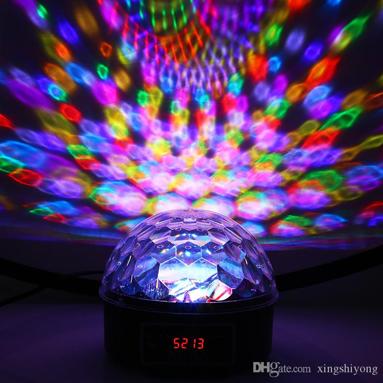 9 Colors LED Crystal Magic Ball Effect Light DMX Disco Dj Stage Light for KTV Club Pub Bar Wedding Show Voice-activated Stage Lights