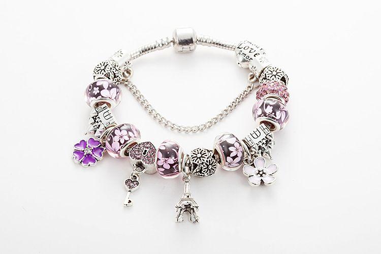 2020 Fashion new brand Luxury Pandora bracelet crystal beads Eiffel Tower pendant DIY bracelet heart women charm bracelet wholesale