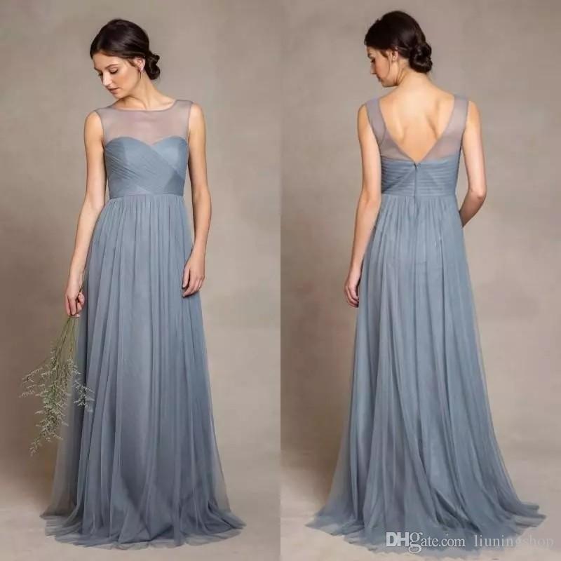 Polvorientos grises tul vestidos de dama de ilusión Scoop escote blusa de los plisados una línea de longitud de vestido de fiesta elegante de la boda de las mujeres