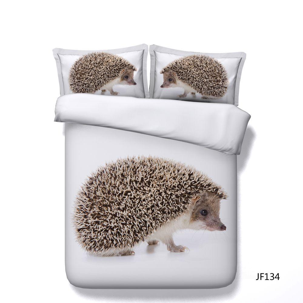 White Duvet Cover Set Hedgehog Animal 3 Piece Bedding Set With 2 Pillow Shams Kids Boys Girls Comforter Cover With Zipper No Comforter Bed
