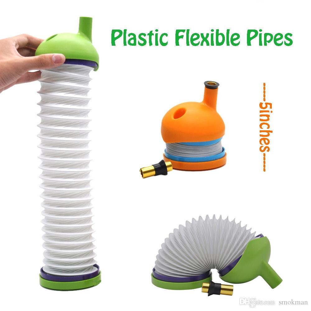 Bukket Smoking Pipes Gravity Bong Plastic Pipes Flexible Wickie Pipes For Dry Herb Caterpillar pipe 4 Colors 5 inches