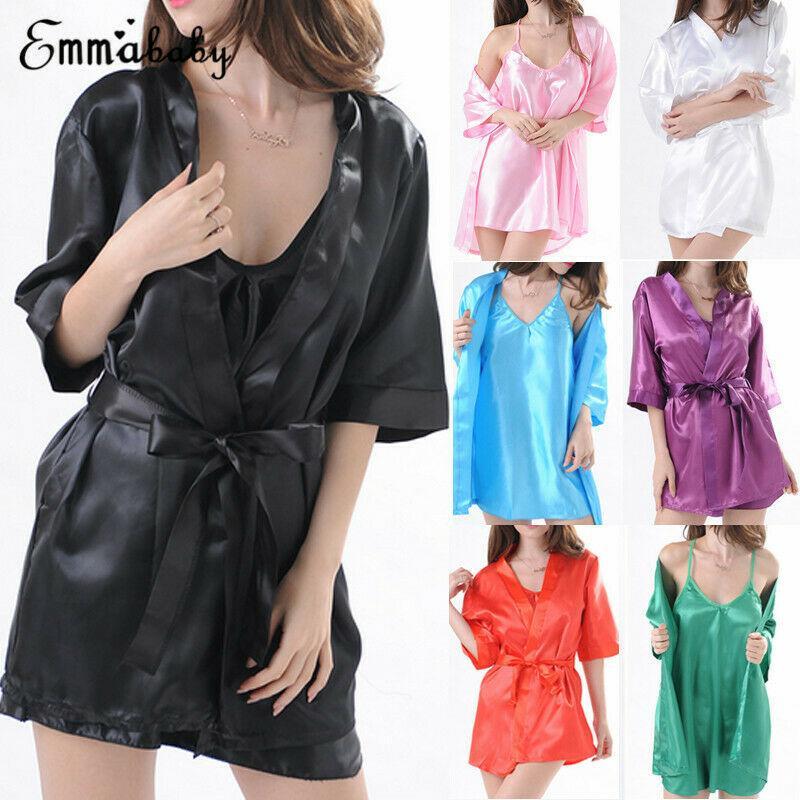2019 새로운 섹시한 여성 목욕 가운 새틴 소프트 롱 란제리 로브 베이비 돌 드레스 잠옷