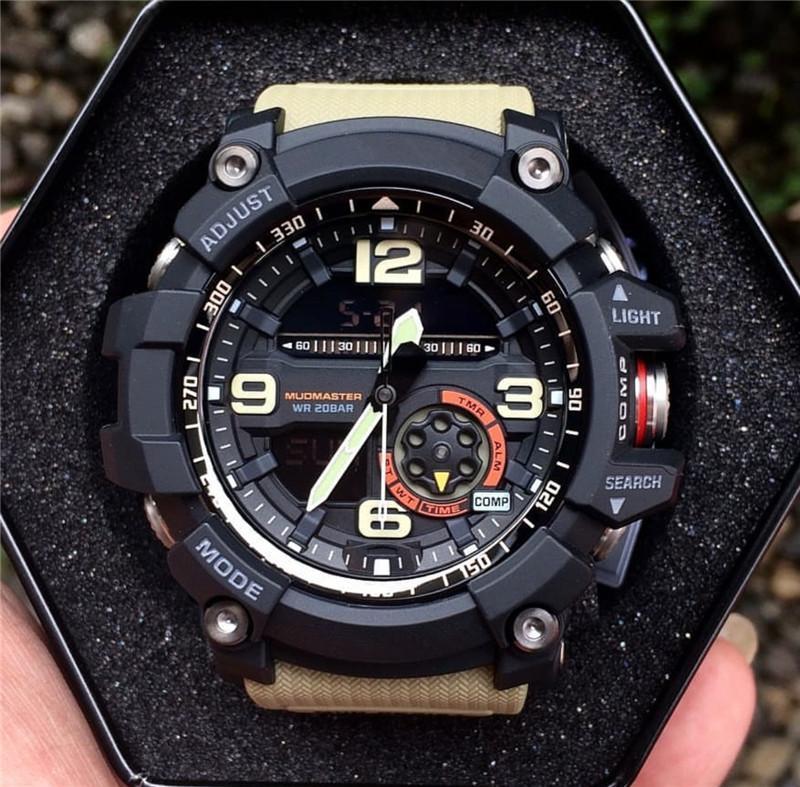2020 Sıcak Satış Akıllı İzle Erkekler Askeri Ordu Su geçirmez Spor Saatler Oto Işık LED Moda Relojes Kauçuk Erkek Saat GG Stil 1000 Saat