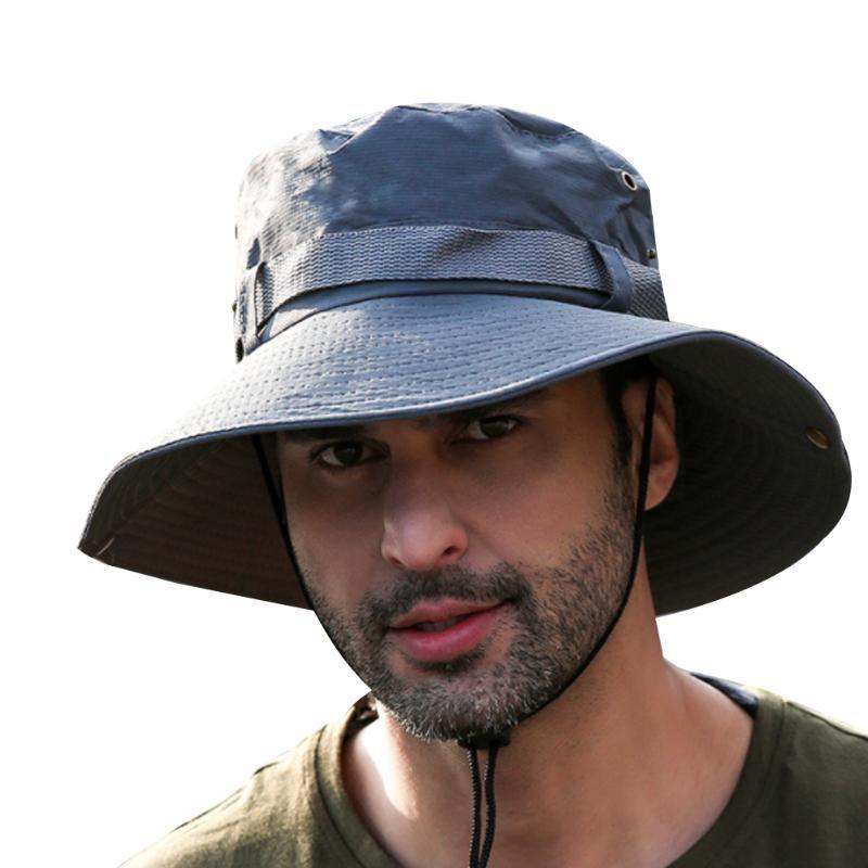 Men Outdoor Boonie Sun Hats Wide Brim UPF 50+ Sun Protection Breathable Hiking Camping Bucket Hat Black Gray Khaki