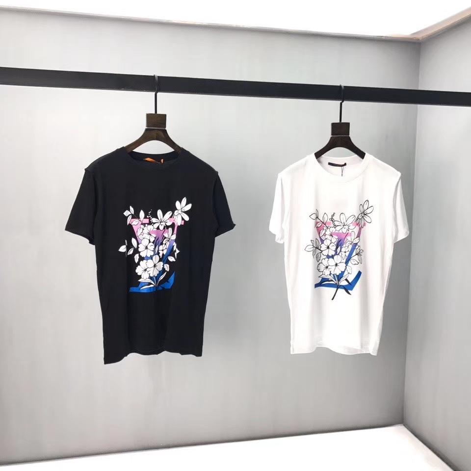 de las mujeres suelta la camiseta de los hombres de la camiseta de la impresión floral colorido letra camisetas jóvenes estudiantes blanco y negro t-shirts2020 nuevos tees QQ6