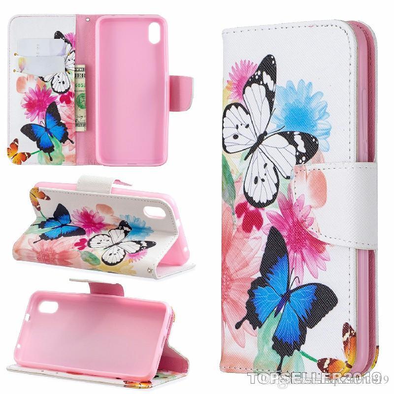 Pour REDMI 7A Stand Design Portefeuille Style Coloré En Cuir Designer Cas Téléphone Sac Couverture Avec Étui De Téléphone Et Porte-Carte B285
