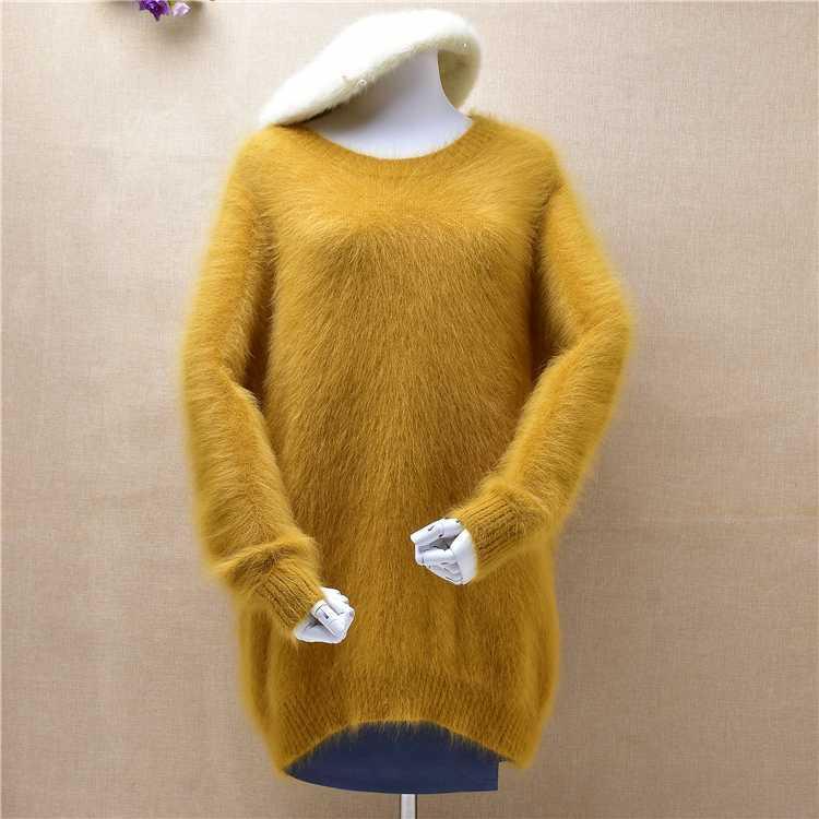 Топ mujer женская мода o-образным вырезом пушистый пушистый норка кашемир вязаный с длинными рукавами свободный пуловер ангора волосы вязаный джемпер