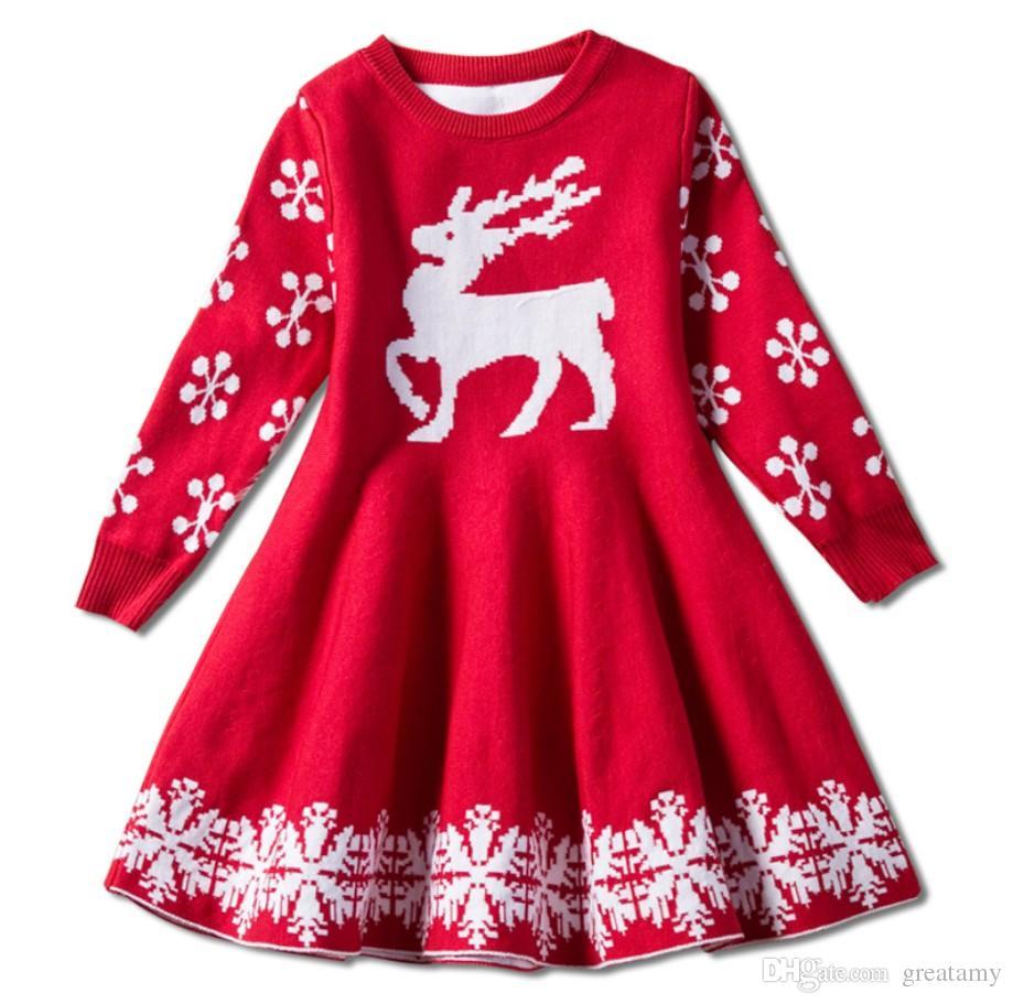 Red color baby girls chritmas skirts deer knitting children girl holidays warm dress kids party skirts
