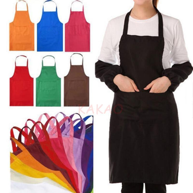 1pc 60x70cm Pure Color Neck Strap Bib Tablier Restaurant étanche et tablier de cuisine à domicile