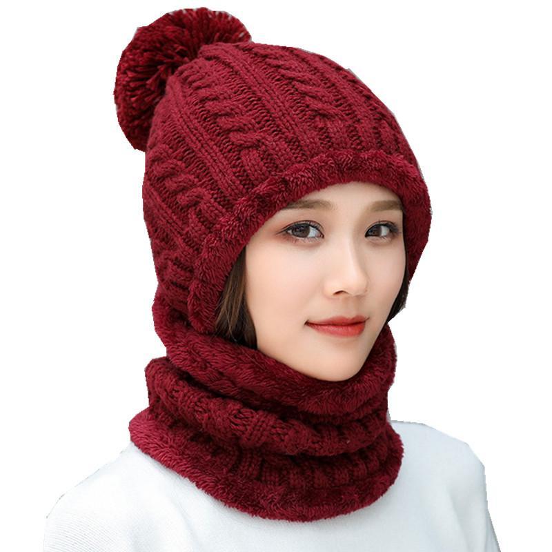 قبعات الصوف في فصل الشتاء للنساء في فصل الشتاء قبعة وشاح مجموعة الرياضة في الهواء الطلق وشاح قبعة السيدات اكسسوارات- بنات سكولي بيني