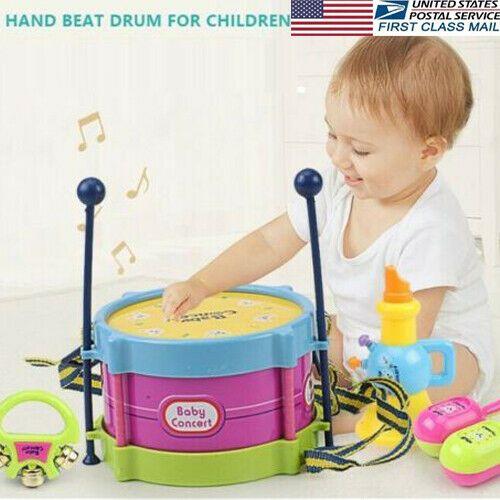 محفظة 5pcs الأطفال طبل البوق لعبة الموسيقى قرع الصك فرقة كيت التعليم المبكر لعبة تربية الطفل أطفال الأطفال هدية مجموعة