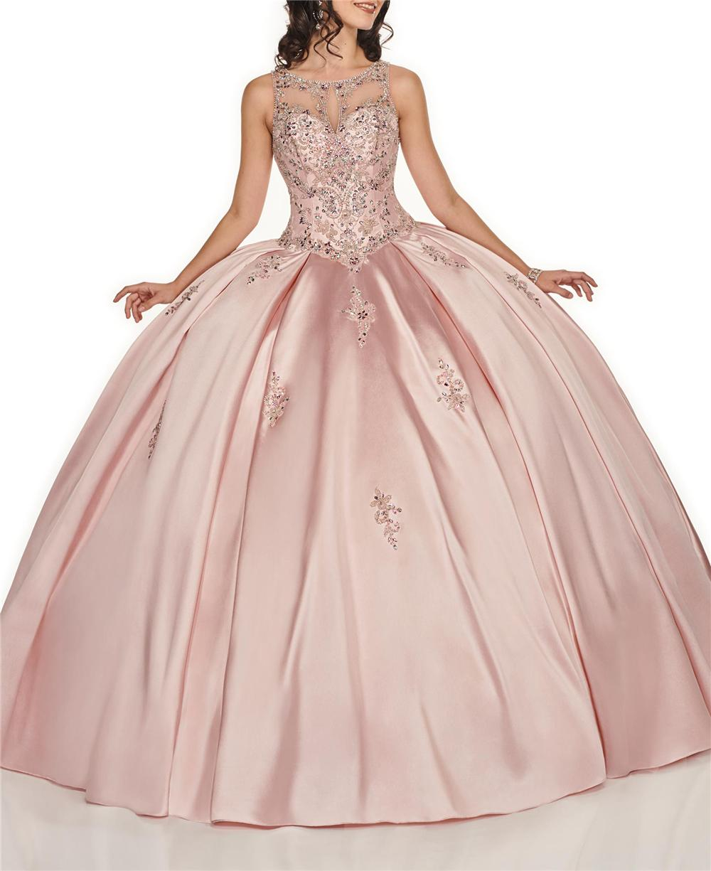 Pink Satin vestidos 15 Anos Quinceanera платья Scoop Аппликация Бисероплетение Vintages Lace-Up Backhole Сладкие 16 Quinceanera платья