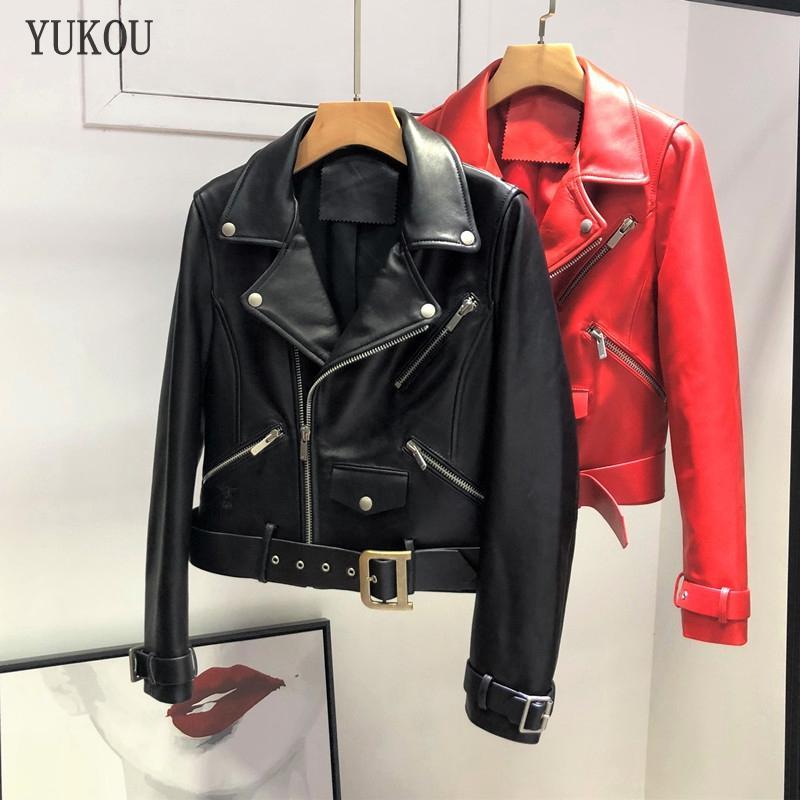 Kadınlar Hakiki Deri 2019 Yeni Moda Autunm Kış Bayan Bombacı Motosiklet Koyun Ceketler Yüksek Kalite