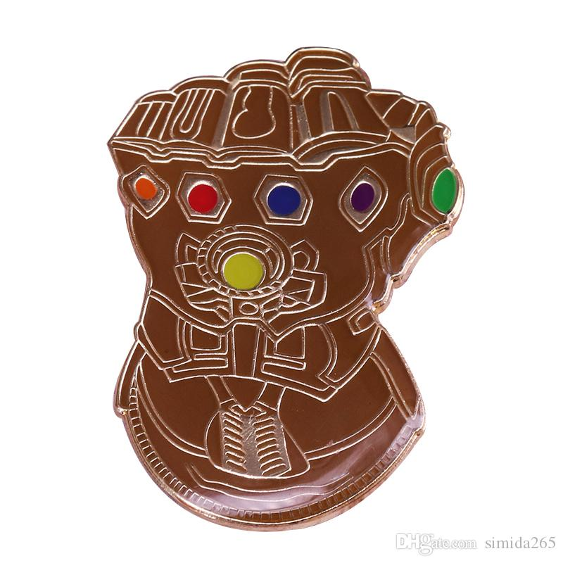 Thanos Infinite Gauntlet pin Avengers powerful gems brooch fighting jewelry Marvel fans gift jackets backpack accessory