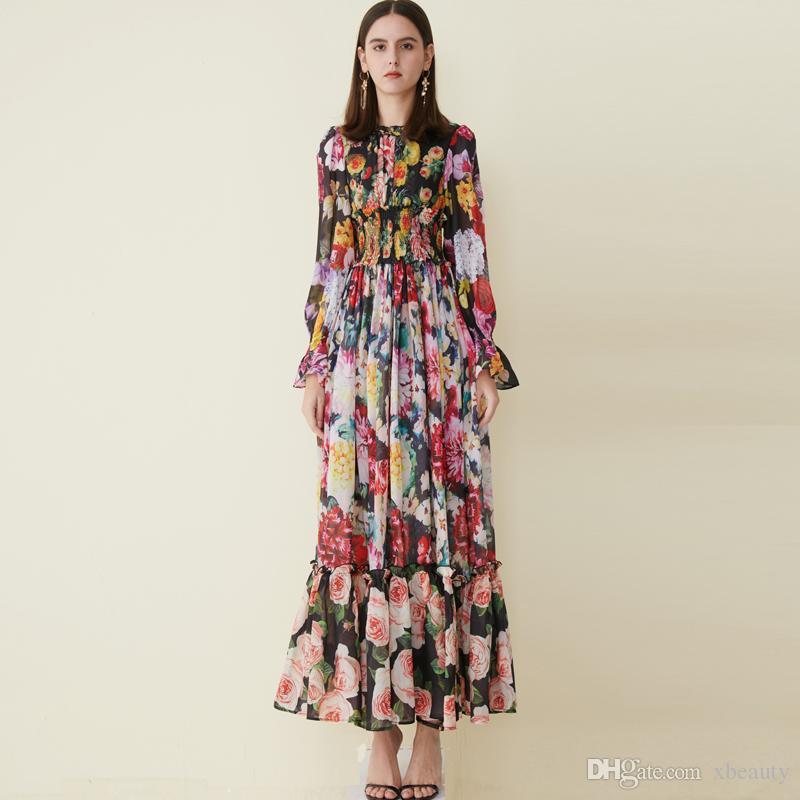 2019 Damen Laufsteg Kleider O Hals Langarm Floral bedruckte Rüschen Elegante Designer Casual Ferien Maxi Kleider