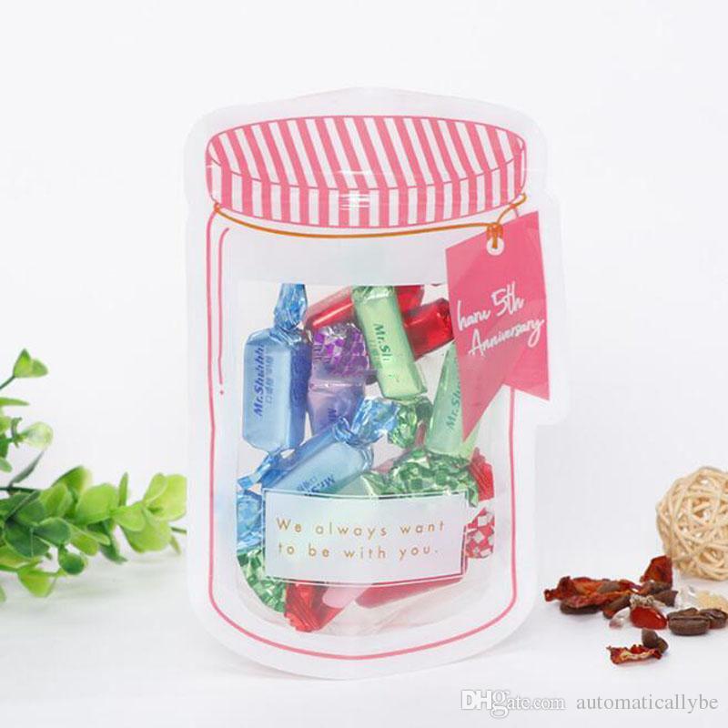 Einmachglas geformte Lebensmittelbehälter Plastiktüte Klare Einmachflasche Modellierung Reißverschlüsse Aufbewahrung Snacks Plastikbox