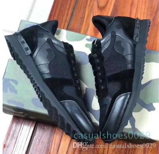 Hot chaussures New Mode Stud Camouflage Sneakers Chaussures Chaussures Femmes Flats Luxury Designer Rockrunner Formateurs Chaussures Casual O8 ac29