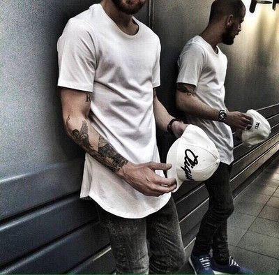 Modo di alta qualità della maglietta T-shirt estesa linea di estate degli uomini curvi Orlo Lunga Hip Hop magliette urbani vestiti in bianco Mens Tee Shirts