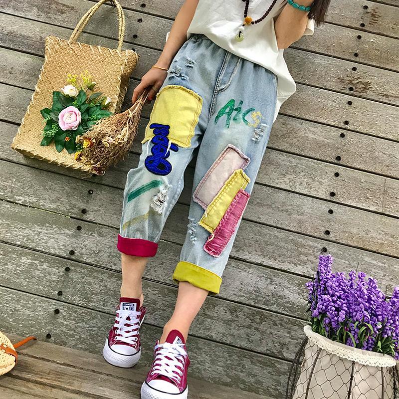 Летние тонкие ретро наклейки вышитые эластичные талии отверстие хит цвет свободные джинсы большого размера женские тонкие укороченные брюки