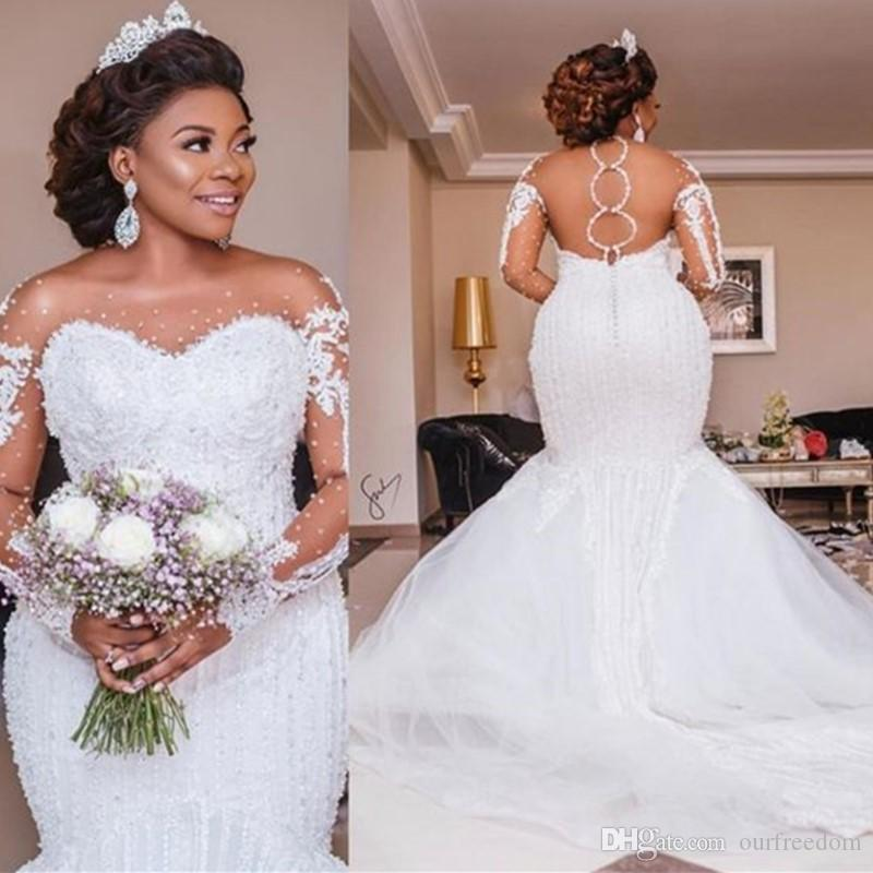 2019 luxe sirène robes de mariée Sheer manches longues col montant des perles de cristal train chapelle africaine arabe Robes de mariée grande taille sur mesure