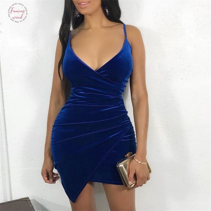 파티 드레스 여성 섹시한 벨벳 Bodycon 잠옷 등이없는 드레스 V 넥 미디 매력 불규칙 헴 로얄 블루 우아한 숙녀 Vestidos