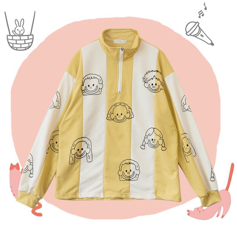Solution Épicerie Mignon Hoodies Printemps Automne Femmes Zipper Sweat-shirt à manches longues Ginger jaune Chic