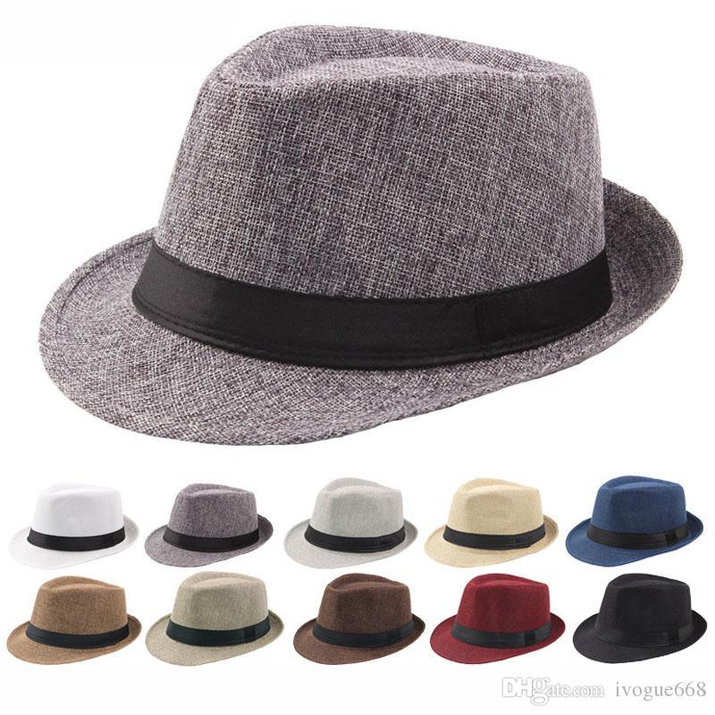 New Fashion Wildland Unisex Trilby Gangster Mens Cap Beach Sun Straw Hat Band Sunhat Free Shipping