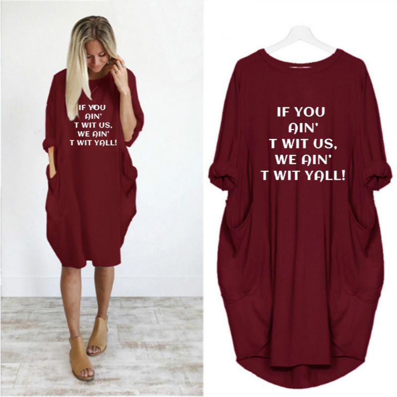 Progettista delle donne vestiti da modo del collo abiti Equipaggio casuale allentato Abito di lusso Lettera Vestito stampato marca Fashion Girl Abbigliamento Estate Nuovo