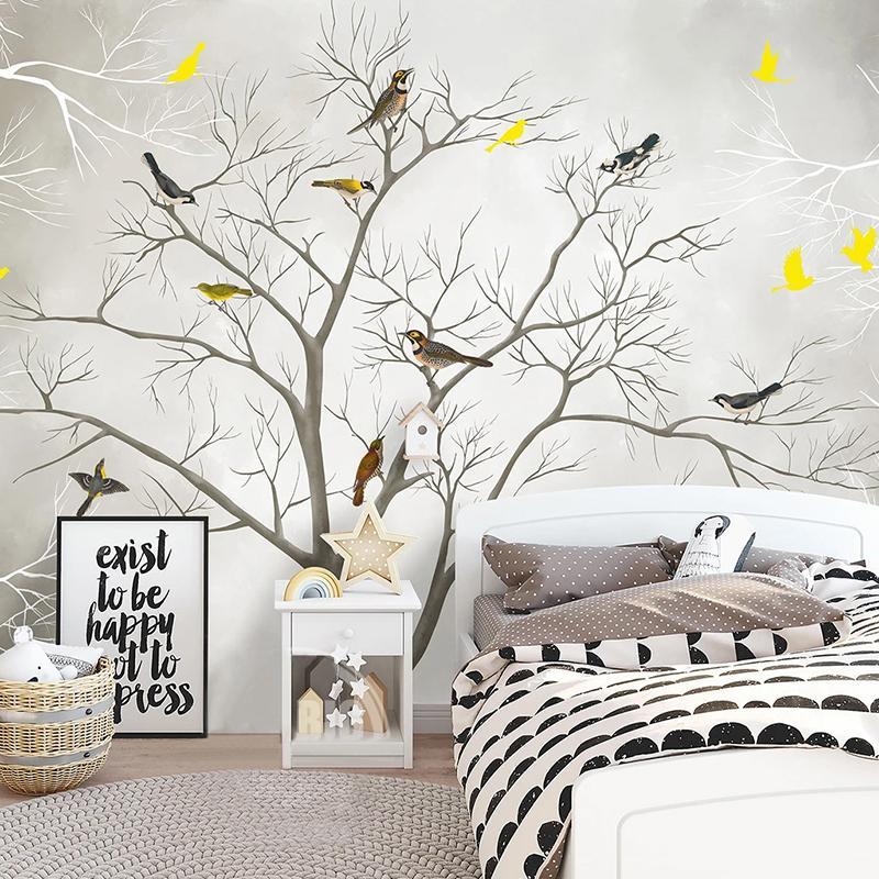 Dropship ordinazione murale 3D Wallpaper Albero dell'uccello della foresta moderna Soggiorno Camera da letto casa della parete dell'autoadesivo decorazione del PVC 3D Wall Stickers