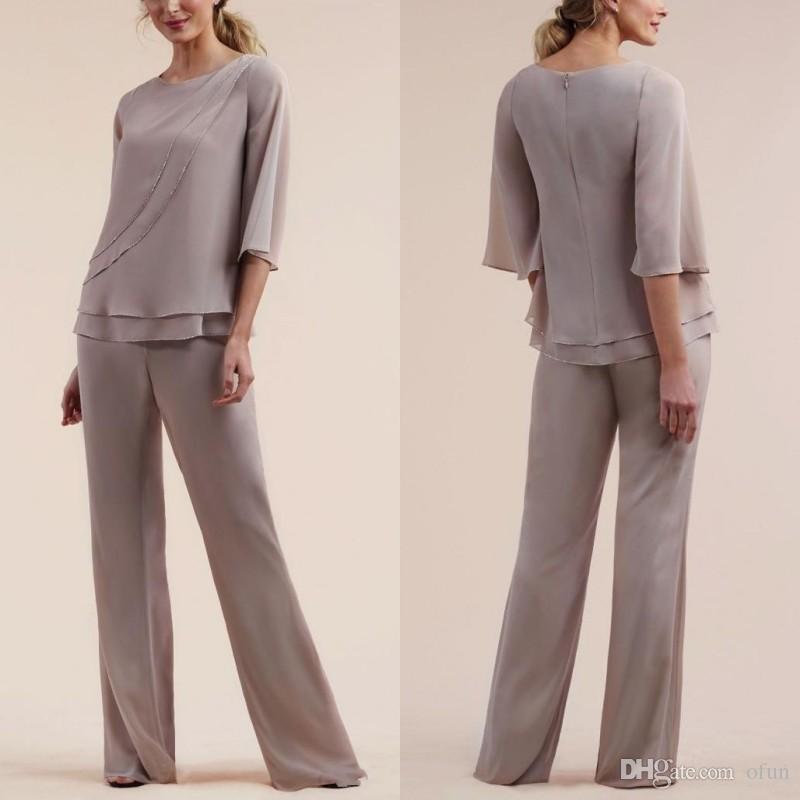 Toptan Satış - Gelin Elbiseler Jewel Şifon Abiye giyim Custom Made Pantolon Ucuz Anne Örgün Düğün Konuk Elbise Suits