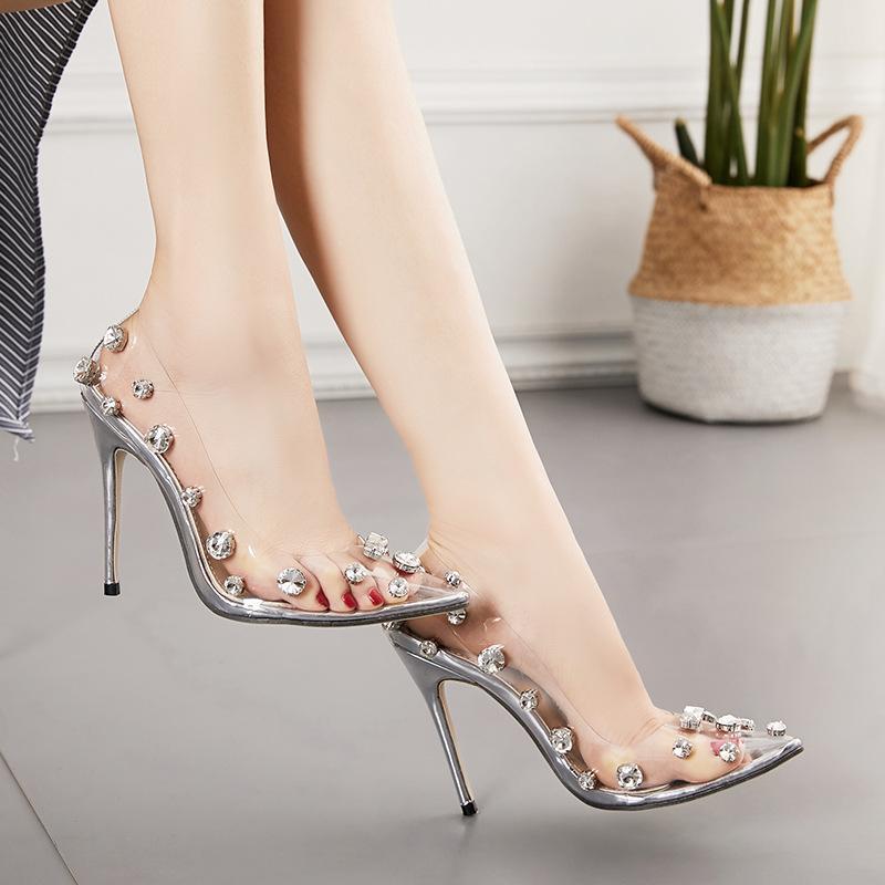 Woman sexy shoes PVC transparent diamond lady single shoes pointed toe 11cm heel pumps size 35-42