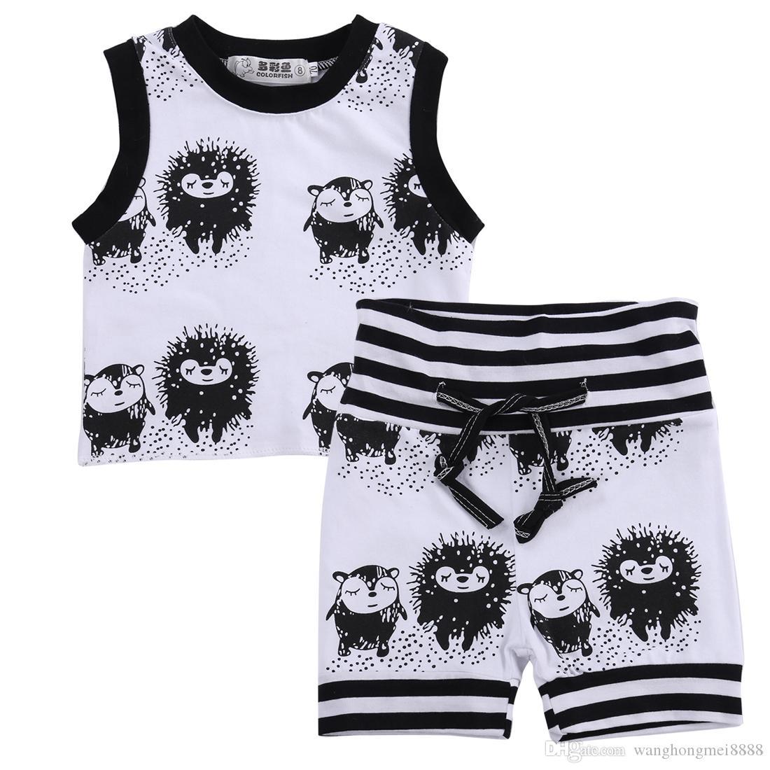 2019 Baby girl boy hedgehog pattern clothes simple cute vest top t-shirt + shorts 2 piece set clothing set