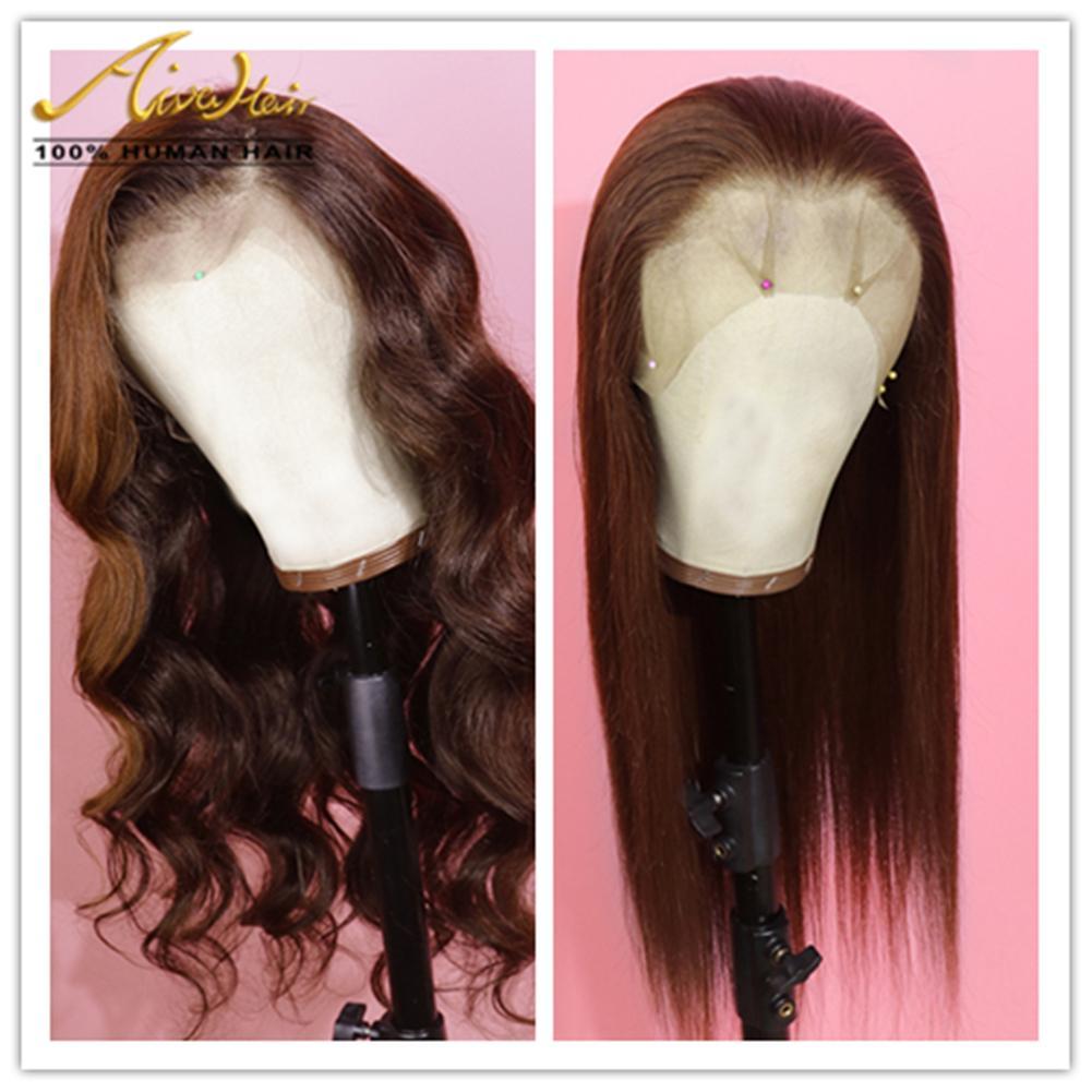 150 Densité de dentelle de cheveux humains Brown Perruques Vague avec bébé cheveux Silky droite Transparent COLORÉ Remy Glueless Perruques