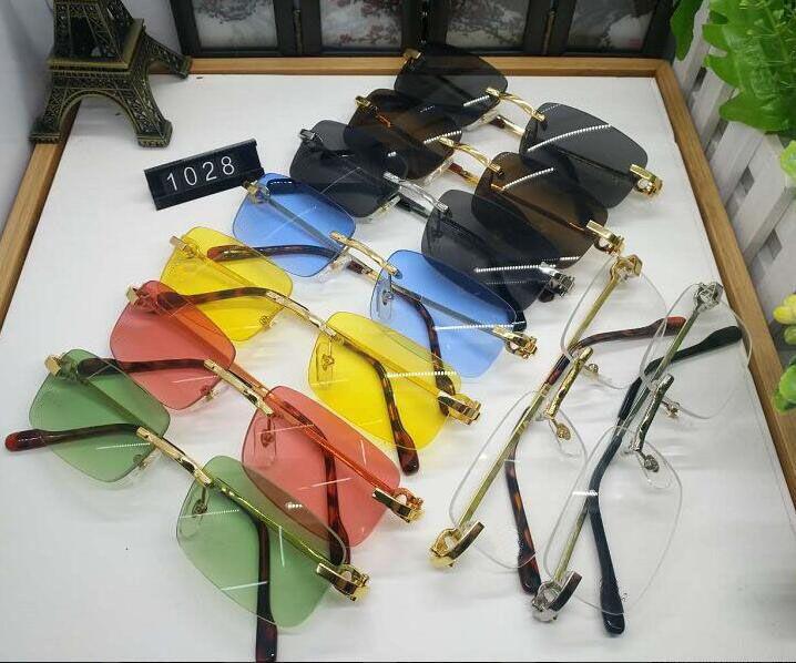 New Mens Sports Optical Frame óculos sem aro do metal do ouro chifre de búfalo Eyewear Limpar lentes dos óculos de sol occhiali lentes Lunette De Soleil