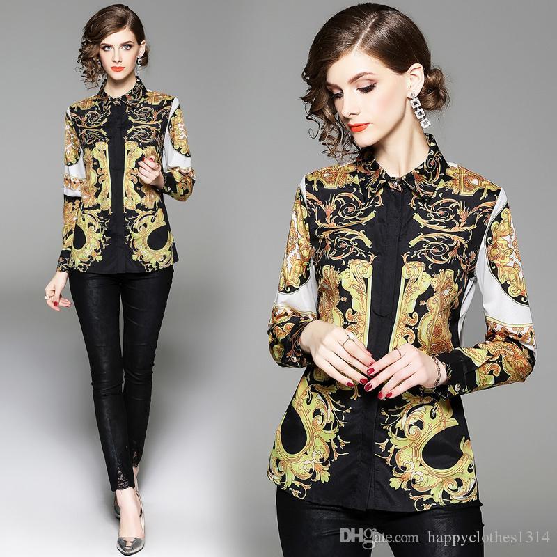 Lüks Tasarım Pist Kadın Vintage Barocco Çiçek Baskı Gömlek Bluz Bahar Ofis Lady Seksi İnce Vintage Şık Gömlek Bluz Güz