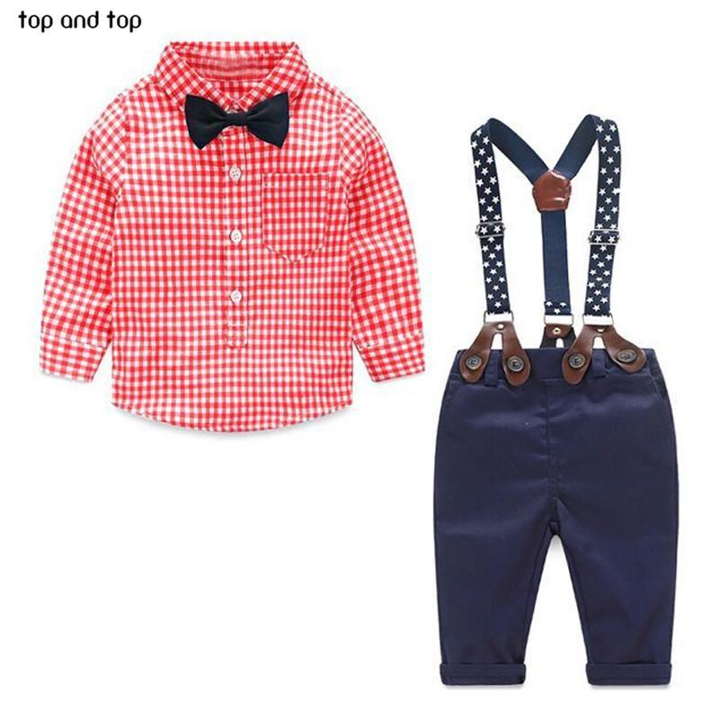 2017 Fashion Kids Grid Shirt + Suspender Newborn Long Sleeve Baby Boy Clothes Bowknot Gentleman Suit Free Shipping J190521