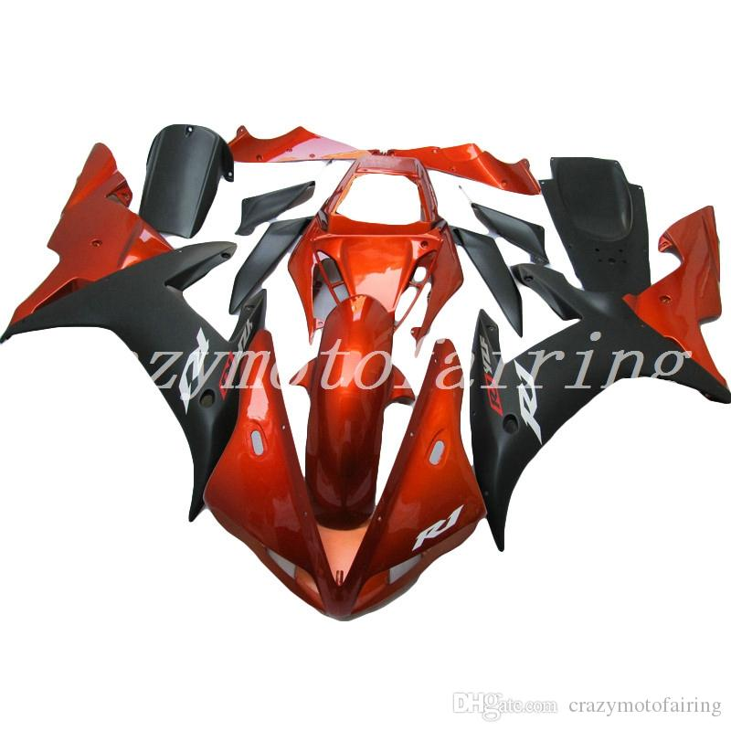 4 Gifts nuovo stampo ABS carenature del motociclo Kit Fit For YAMAHA YZF-R1-1000 2002-2003 02 03 carene Custom nero arancione