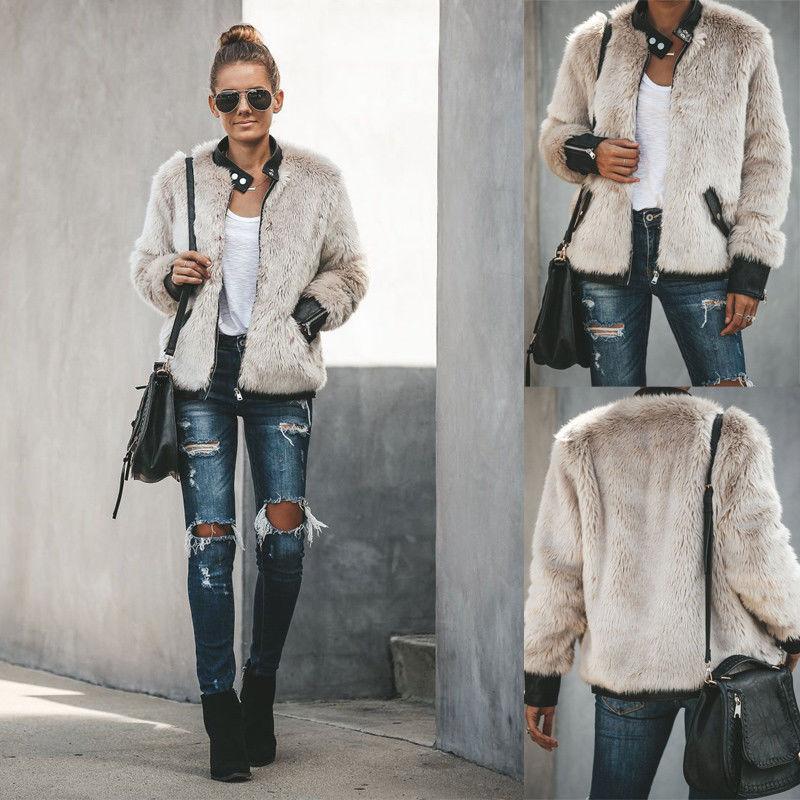 Moda Womens Grosso Quente Urso de Pelúcia Bolso Casaco De Lã Casaco 2019 Novo Inverno Super Quente Zip Up Outwear Casaco XS-XL