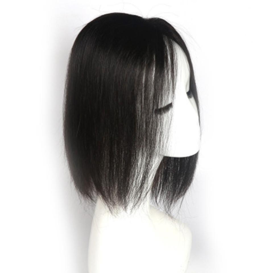 Gerçek Saç Moda Kadın Gerçek Saç Üst El Dolum Blok Görünmez Beyaz Saç Değiştirme Blok Jooyoo